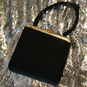 Vintage 1950s H1 U.S.A. Black Satin Evening Bag